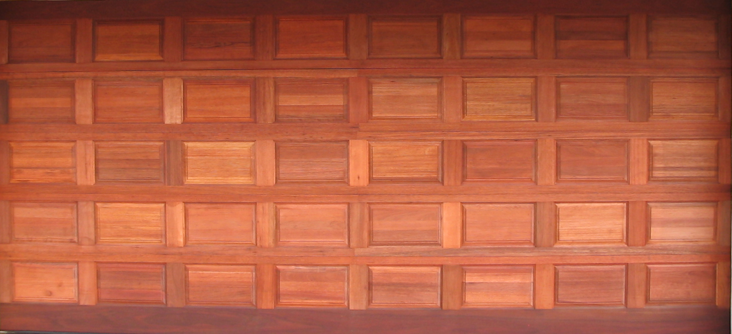 Fourty Panel Double Wooden Garage Door Brick Pattern