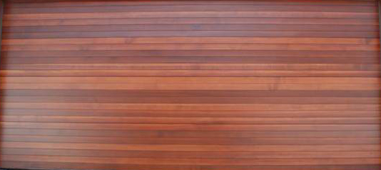Horizontal Slatted Double Wooden Garage Door